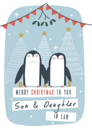Greeting Cards - Son And Daughter In Law Pair Of Penguins Personalised Christmas Card - Image 1