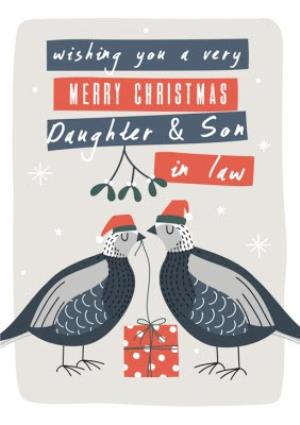 Greeting Cards - Daughter And Son In Law Two Turtle Doves Personalised Christmas Card - Image 1