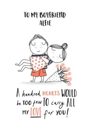 Greeting Cards - Cute Cartoon Couple All My Love Boyfriend Valentine's Day Card - Image 1