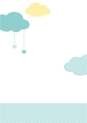 Greeting Cards - Baby And Clouds With Love Personalised Photo Upload Christening Card - Image 2