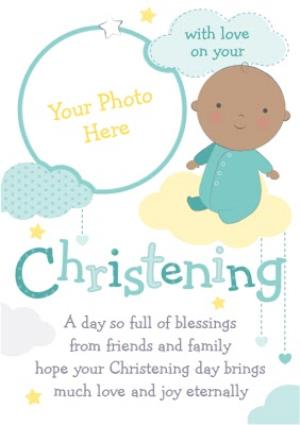 Greeting Cards - Baby In The Clouds Personalised Photo Upload Christening Card - Image 1