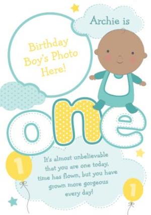 Greeting Cards - Baby Is One Personalised Photo Upload Birthday Card - Image 1