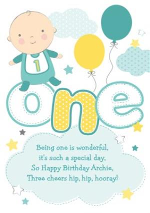 Being One Is Wonderful Boy Personalised Happy 1st Birthday Card
