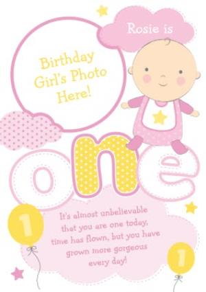 Greeting Cards - Yellow And Pink Clouds Personalised Photo Upload Baby's 1st Birthday Card - Image 1