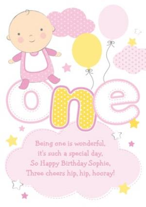 Greeting Cards - Clouds And Stars Yellow And Pink Personalised Happy 1st Birthday Card - Image 1