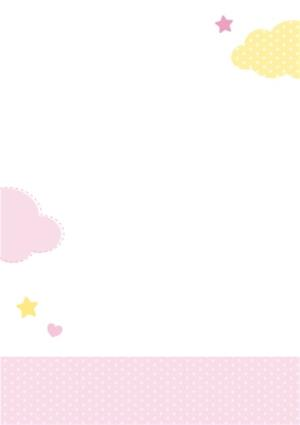 Greeting Cards - Clouds And Stars Yellow And Pink Personalised Happy 1st Birthday Card - Image 3