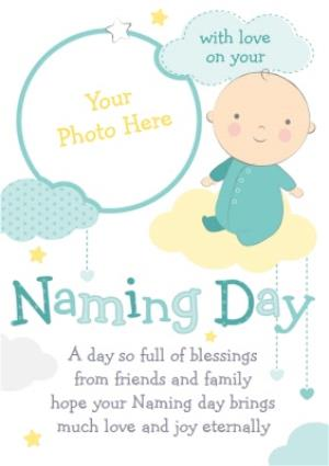Greeting Cards - Cartoon Baby In The Clouds Naming Day Photo Card - Image 1