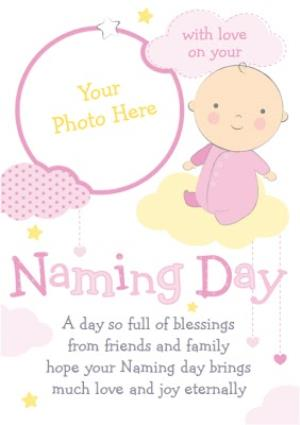 Greeting Cards - Pink And Yellow Clouds Personalised Photo Upload Naming Day Card For Girl - Image 1