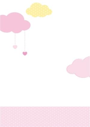 Greeting Cards - Pink And Yellow Clouds Personalised Photo Upload Naming Day Card For Girl - Image 2