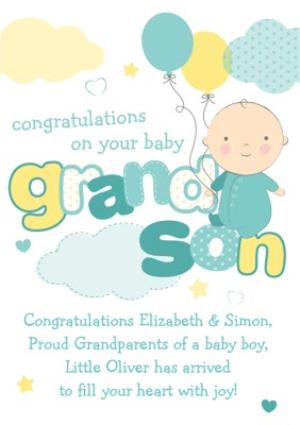 Greeting Cards - Congratulations On Your New Baby Grandson Card - Image 1