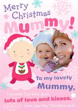 Greeting Cards - Hot Pink And Baby Pink Snowflake Personalised Photo Upload Merry Christmas Card For Mum - Image 1