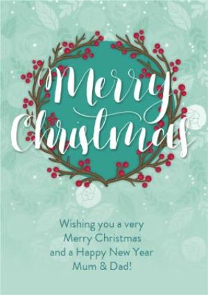 Greeting Cards - Calligraphy Script Personalised Merry Christmas Card - Image 1