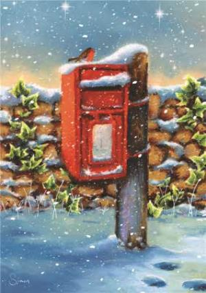 Greeting Cards - Robin On A Snow Covered Post Box Personalised Merry Christmas Card - Image 1