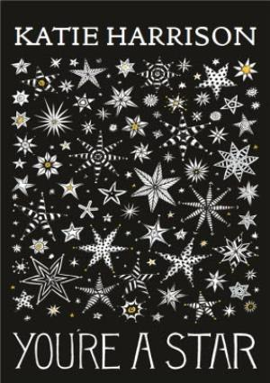 Greeting Cards - Black And White You're A Star Personalised Greetings Card - Image 1