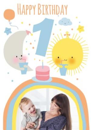 Greeting Cards - Cute Moon And Sun Personalised Photo Upload Happy 1st Birthday Card - Image 1