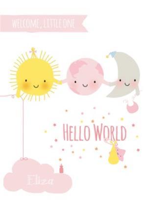 Greeting Cards - Cartoon Stars And Moon Hello World New Baby Card - Image 1