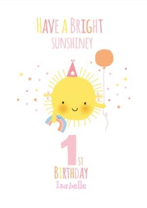 Greeting Cards - Cute Sunshine Bright Personalised Happy 1st Birthday Card - Image 1