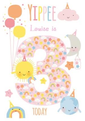 Greeting Cards - Cute Sun Cloud Rainbow Moon World Personalised Happy 3rd Birthday Card - Image 1