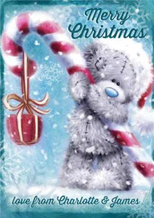 Greeting Cards - Me To You Tatty Teddy Candy Cane Personalised Christmas Card - Image 1