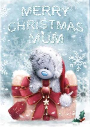 Greeting Cards - Tatty Teddy Snowflakes And Big Bow Personalised Merry Christmas Card For Mum - Image 1