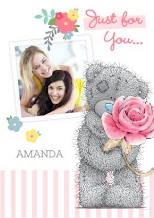 Greeting Cards - Tatty Teddy With Rose Personalised Photo Upload Just A Note Card - Image 1