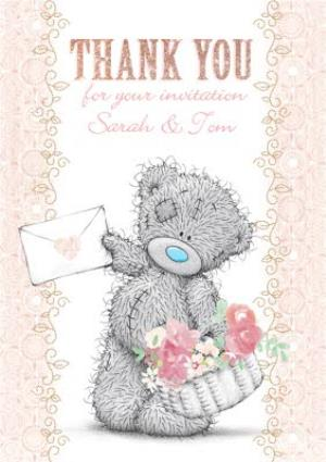 Tatty Teddy With Basket Personalised Thank You For The Invitation Card