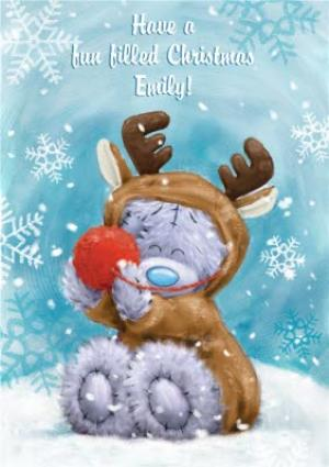 Me To You Tatty Teddy Reindeer Costume Personalised Christmas Card | Moonpig
