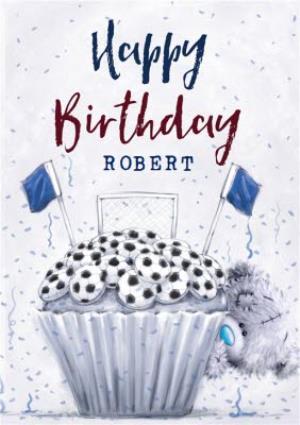 Greeting Cards - Cute Tatty Teddy Football Cupcake Birthday Card - Image 1
