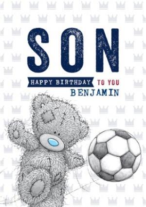 Greeting Cards - Cute Tatty Teddy Card - Happy Birthday Son - Football - Image 1