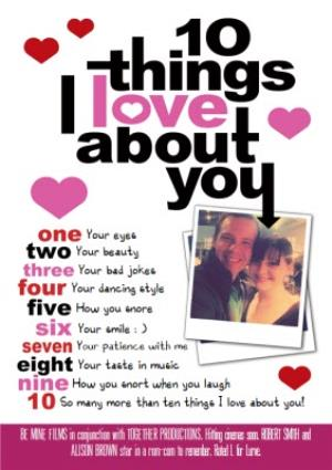 Greeting Cards - 10 Things I Love About You Photo Upload Card - Image 1