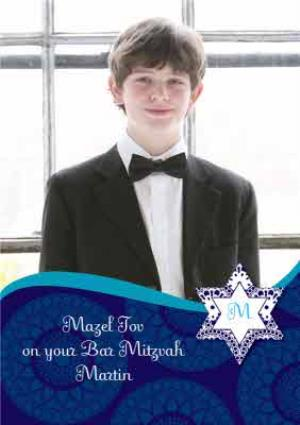 Greeting Cards - Blue Mazel Tov Personalised Photo Upload Happy Bar Mitzvah Card - Image 1