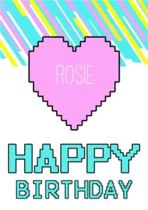Greeting Cards - Digital Heart Personalised Happy Birthday Card - Image 1
