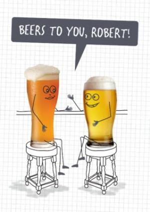 Greeting Cards - Cartoon Beers To You Pun Card - Image 1