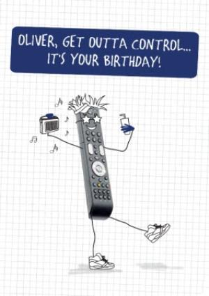 Greeting Cards - Cartoon Get Outta Control Personalised Birthday Card - Image 1