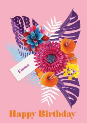 Greeting Cards - Bright Pink Tropical Flowers Personalised Happy Birthday Card - Image 1