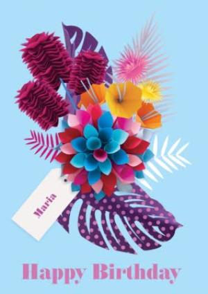 Greeting Cards - Bright Blue Tropical Flowers Personalised Happy Birthday Card - Image 1