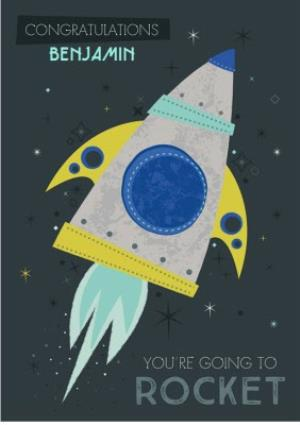 Greeting Cards - Congratulations card - good luck - new job - rocket - space - Image 1
