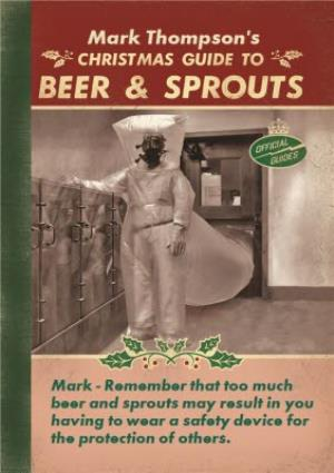Greeting Cards - Christmas Guide To Beer And Sprouts Personalised Merry Christmas Card - Image 1