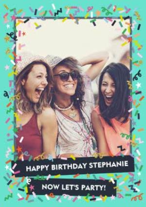 Greeting Cards - Bright Teal And Confetti Photo And Personalised Text Card - Image 1