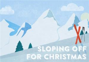 Greeting Cards - Sloping Off This Christmas Horizontal Personalised Merry Christmas Card - Image 1