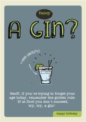 Greeting Cards - Fancy a Gin Personalised Happy Birthday Card - Image 1