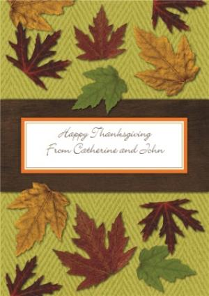 Greeting Cards - Fallen Leaves Personalised Happy Thanksgiving Card - Image 1