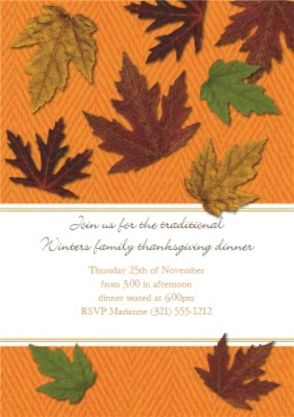 Greeting Cards - Autumn Leaves Traditional Winters Family Personalised Happy Thanksgiving Invitation Card - Image 1
