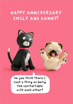 Greeting Cards - Cat And Dog Funny Caption Personalised Happy Anniversary Card - Image 1
