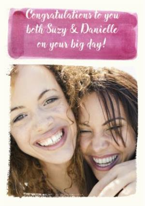 Greeting Cards - Pink Watercolour Banner Photo Upload Card - Image 1