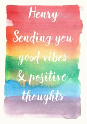 Greeting Cards - Rainbow Paintbrush Strokes Good Vibes Personalised Greetings Card - Image 1