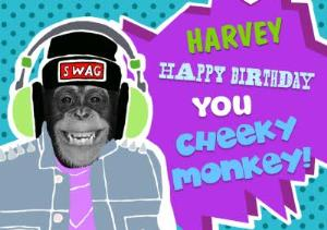 Greeting Cards - Pop Art Happy Birthday You Cheeky Monkey Personalised Card - Image 1