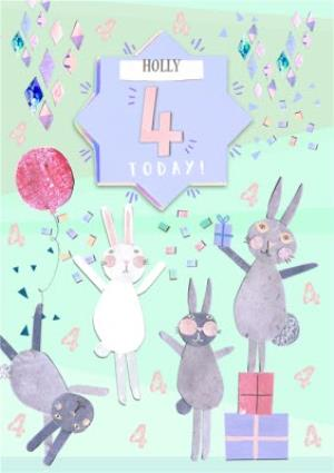 Greeting Cards - Bunnies, Confetti And Gifts Personalised Happy 4th Birthday Card - Image 1