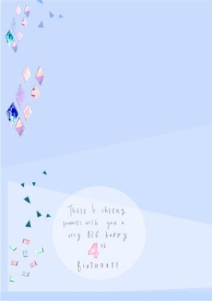 Greeting Cards - Bunnies, Confetti And Gifts Personalised Happy 4th Birthday Card - Image 2