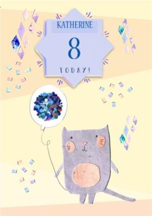 Greeting Cards - Cat With Sparkly Balloon Personalised Happy 8th Birthday Card - Image 1